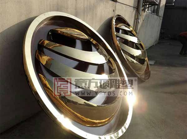 不锈钢镀钛logo - 意方圆雕塑公司 不锈钢雕塑 江苏